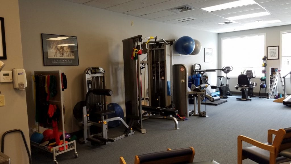 An image of the training room with equipment used for physical therapy at our clinic in Marion, Massachusetts.
