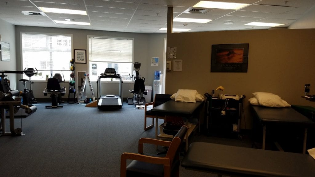 An image of two stretch beds and physical therapy equipment at our clinic in Marion, Massachusetts.