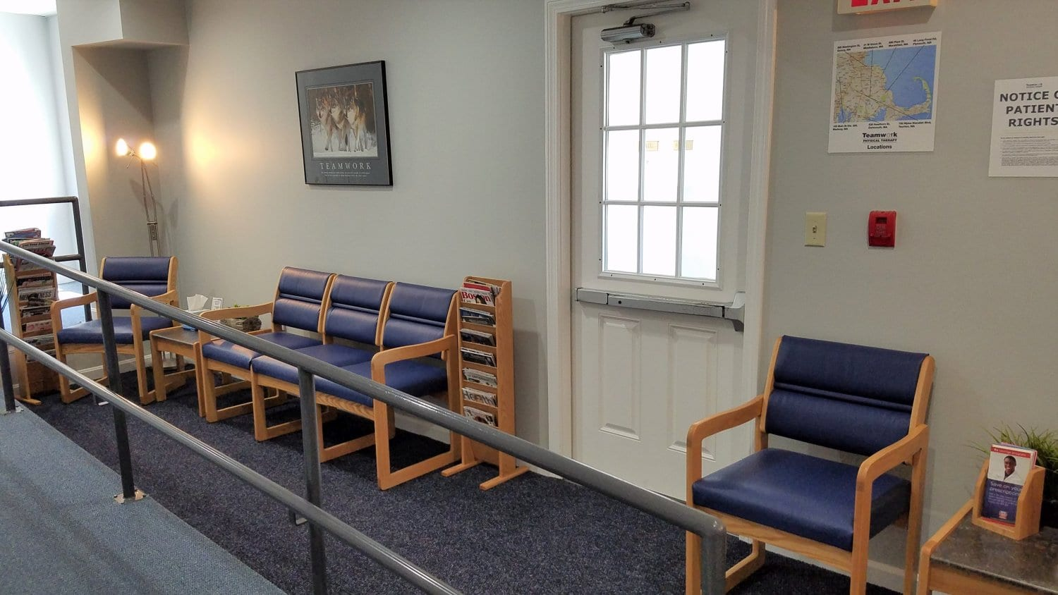 A photo of the waiting area at our physical therapy clinic in Middleboro, Massachusetts.