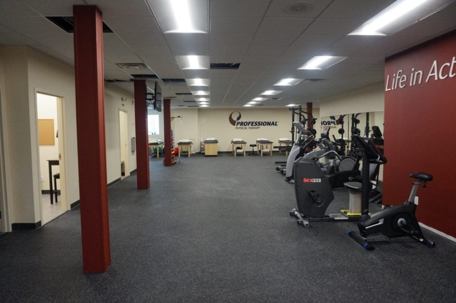 Here is an image of the interior of our facility. There is equipment used is physical therapy here in the training room at our clinic in Long Beach, New York.