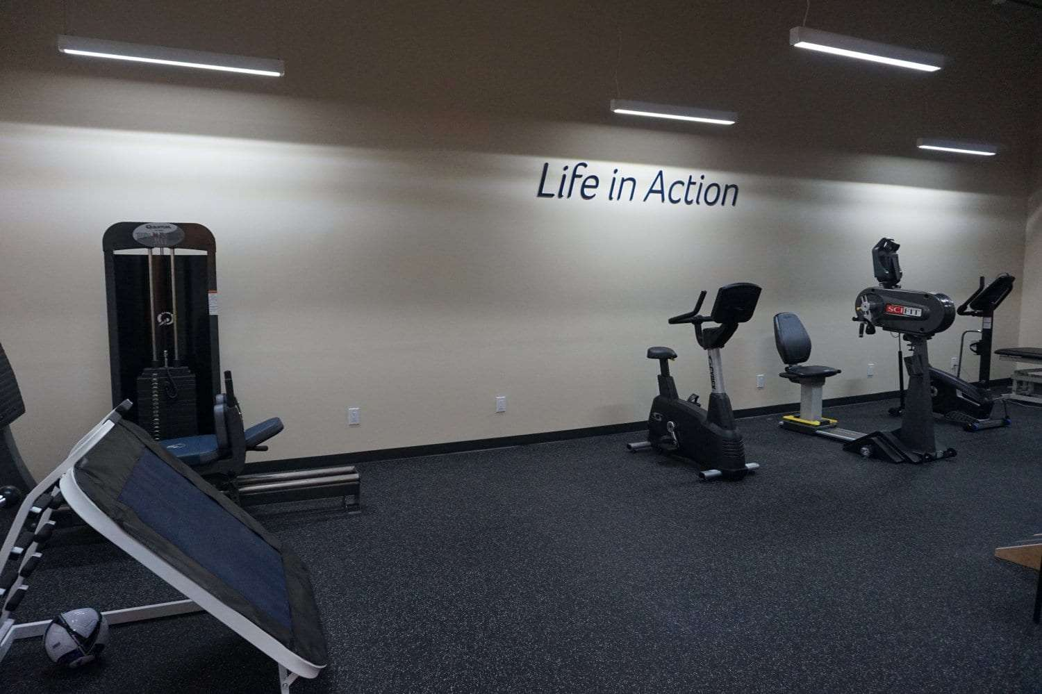 Here is a wide shot of some of the equipment that can be found in our physical therapy clinic in West Islip New York.