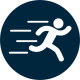 Services icon for sports medicine of a person running.