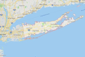 Map of the Suffolk County area of Long Island New York with an outline around our physical therapy clinics locations.