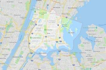 Map of the Bronx area New York City with an outline around the area of our physical therapy clinics locations.