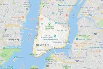 Map of the Financial District area of Lower Manhattan in New York, NY with an outline around the area of our physical therapy clinics locations.