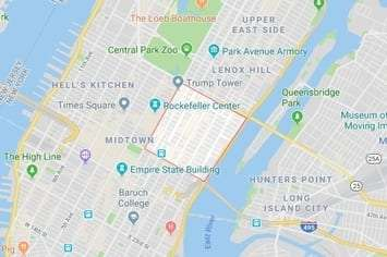 Map of the midtown east area of Manhattan in New York, NY with an outline around the area of our physical therapy clinics locations.