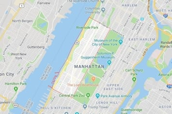 Map of the Upper West Side area of Manhattan in New York, NY with an outline around the area of our physical therapy clinics locations.