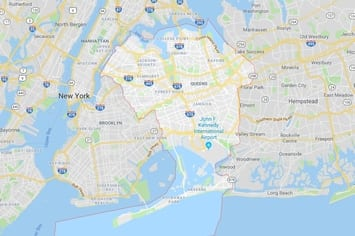 Map of the Queens area in New York City with an outline around the area of our physical therapy clinics locations.