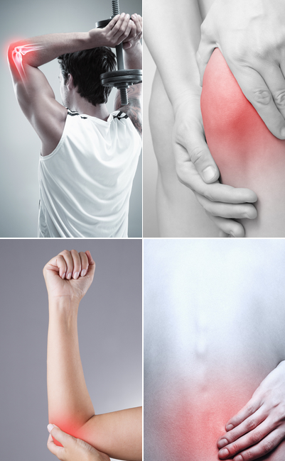 Graphic representation of elbow pain, knee pain, and back pain with red hotspots and grey images.