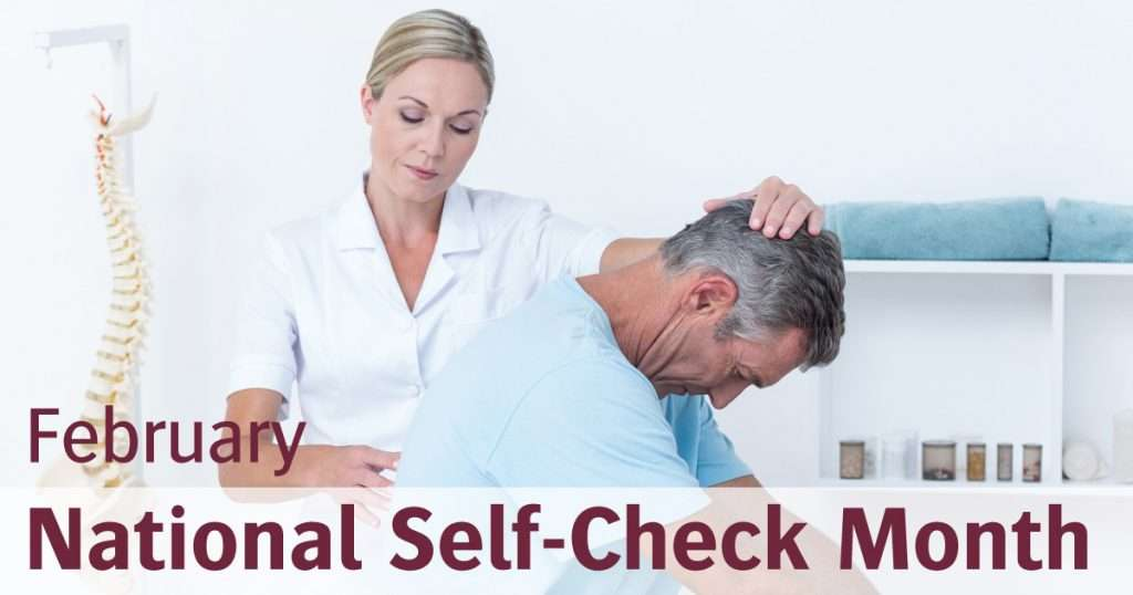 physical therapist evaluating patient for self-check month