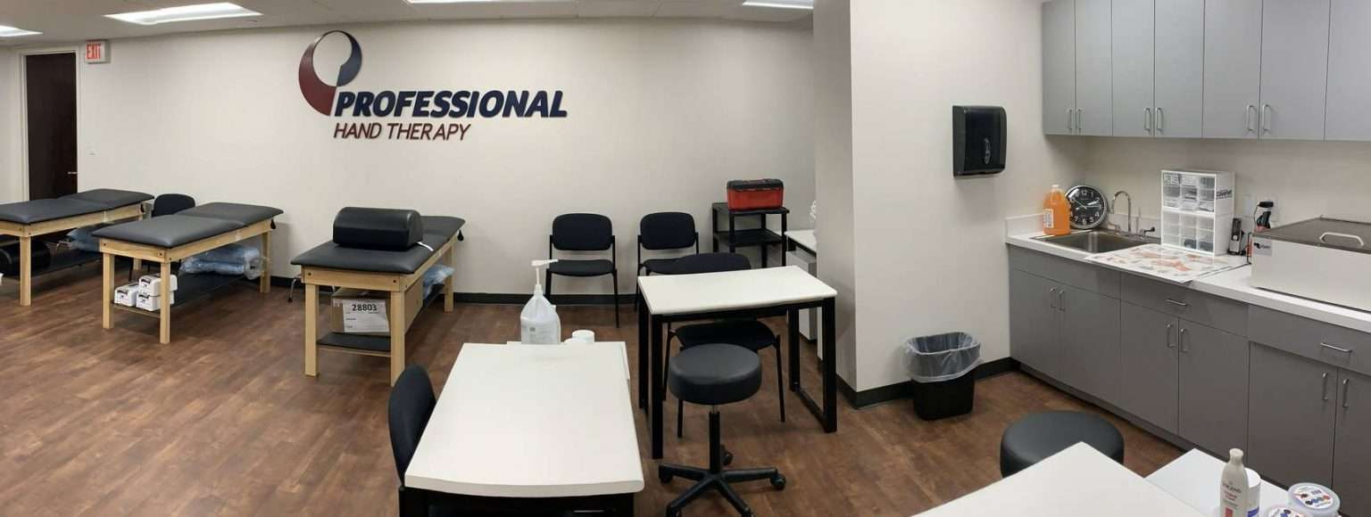 Wide view of our physical therapy clinic in Scarsdale, NY with hand therapy stations.