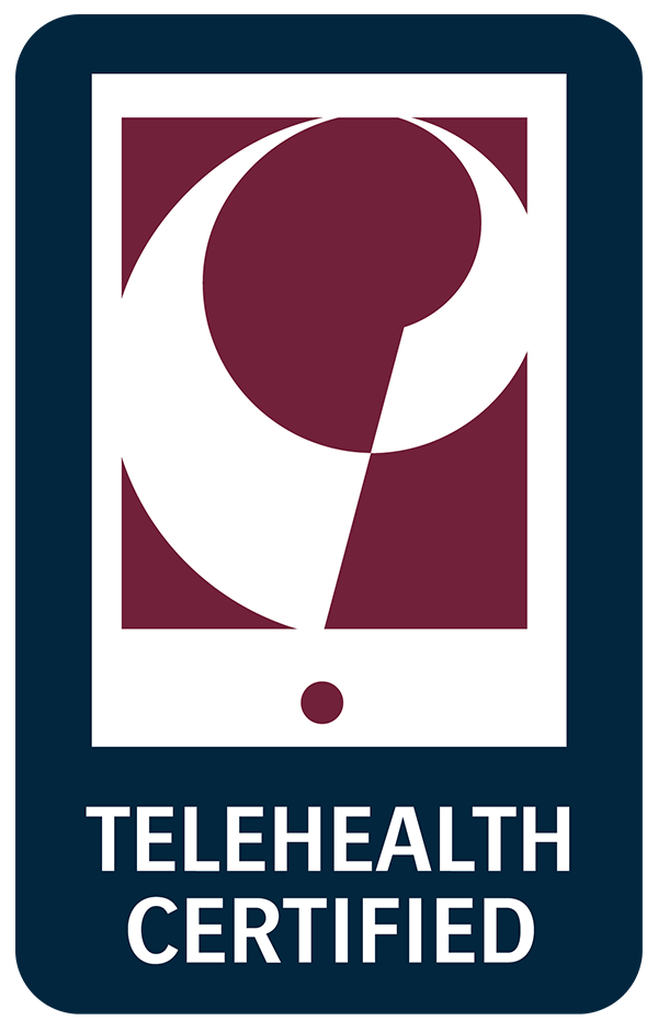 Professional physical therapy P logo for telehealth certified therapists.