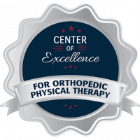 Blue and silver badge for the Center of Excellence for Orthopedic Physical Therapy.